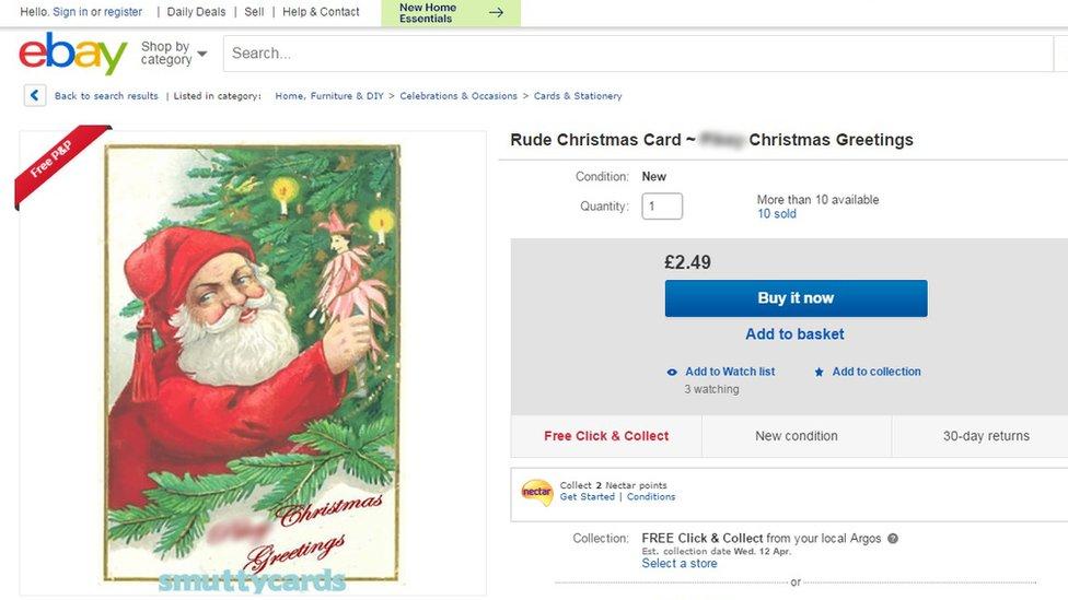 eBay screengrab of Santa stealing decorations Christmas card