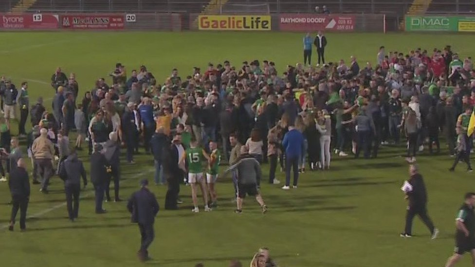 Crowds came onto the pitch after Dungannon Clarkes won their first Tyrone Football title in 64 years
