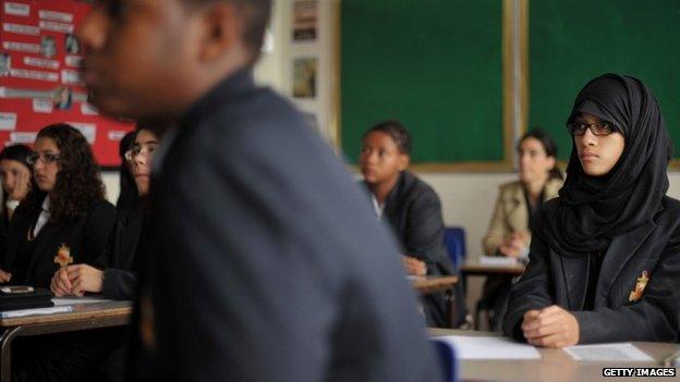 Pupils at the Burlington Danes Academy in west London