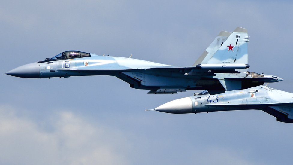 Russian Sukhoi Su-35 and Su-30M2 fighter jets