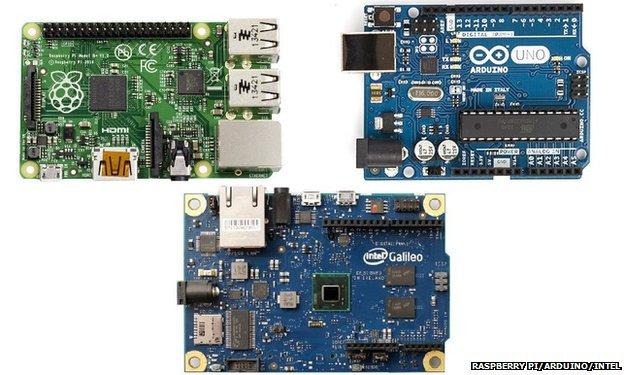 Raspberry Pi, Arduino and Galileo computers