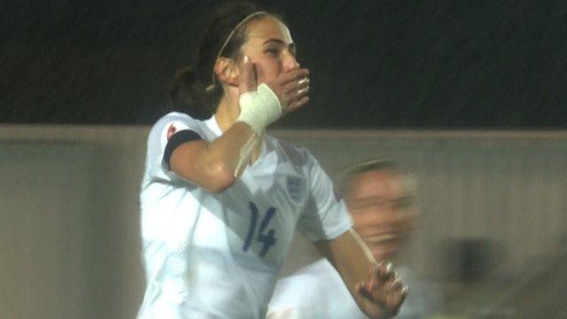 Jill Scott celebrates scoring England's winning goal against Bosnia-Herzegovina