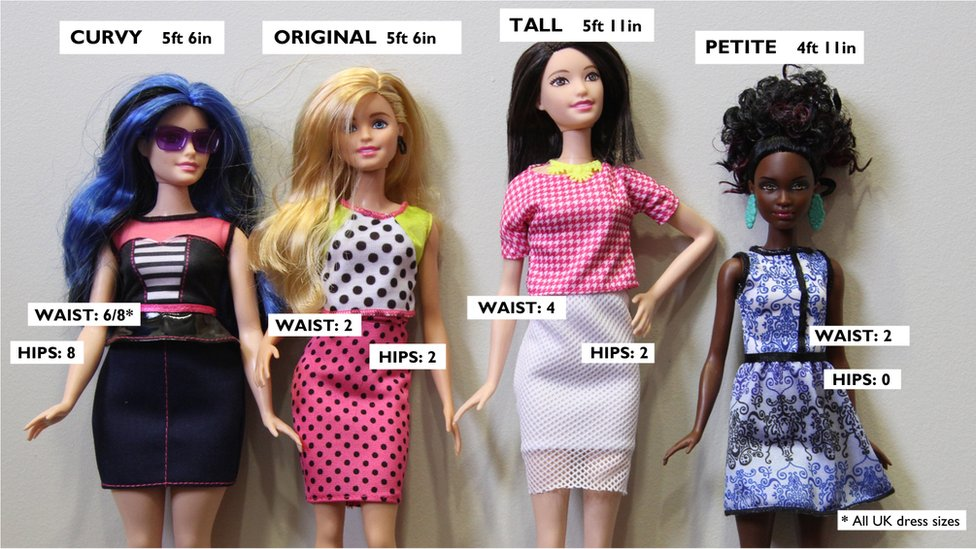 Barbie dolls. Curvy: 5ft 6in, Waist 6/8, Hips 8. Original: 5ft 6in. Waist 2, Hips 2. Tall: 5ft 11in. Waist 4, Hips, 2. Petite: 4ft 11in. Waist 2, Hips 0.