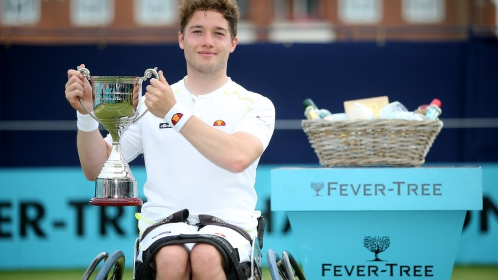 Queen's: Alfie Hewett beats Gordon Reid to win wheelchair singles title