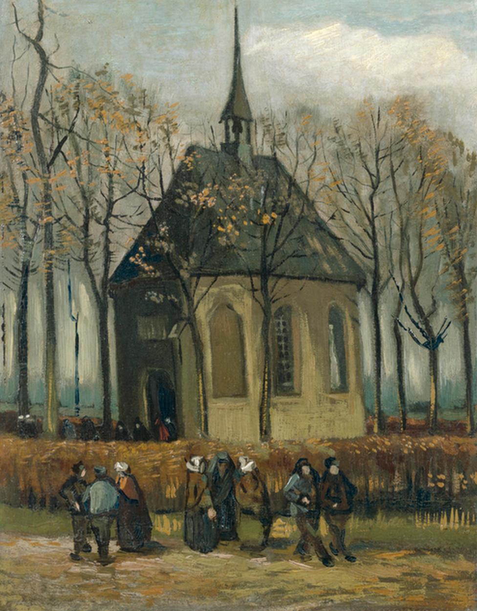 Vincent van Gogh, Congregation Leaving the Reformed Church in Nuenen, 1884 - 1885
