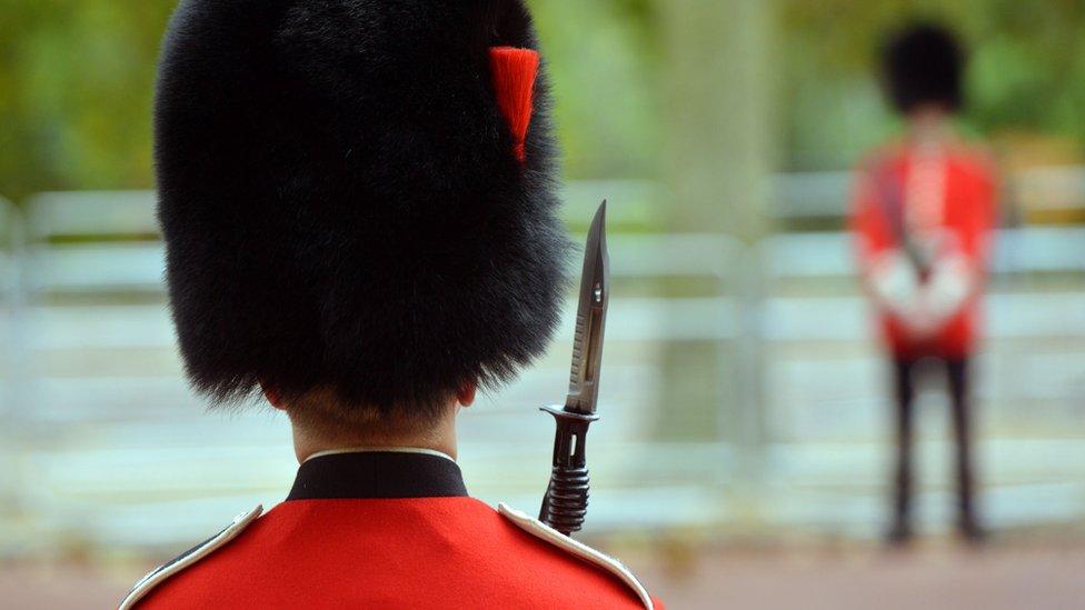 Queen's guard wearing bearskin hat