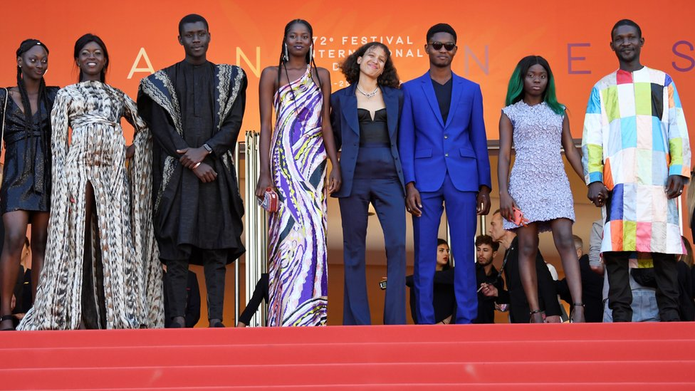 Mati Diop (centre) and her Atlantics cast