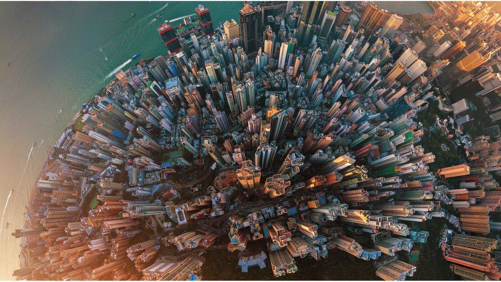 Hong Kong island aerial view