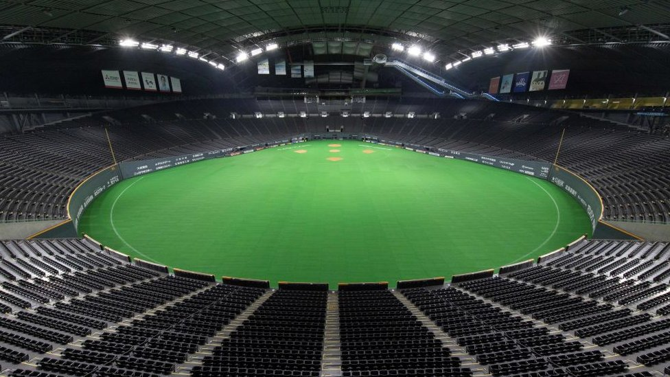 This picture taken on March 20, 2019 shows the Sapporo Dome, one of the venues for the 2019 Rugby World Cup