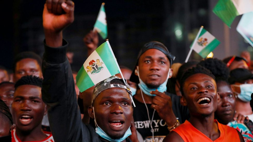 Demonstrators shout slogans during a protest over alleged police brutality in Lagos, Nigeria October 17, 2020