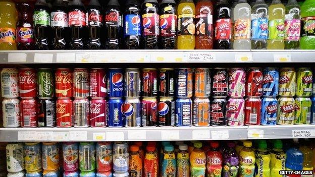 Fizzy drinks on shop shelf