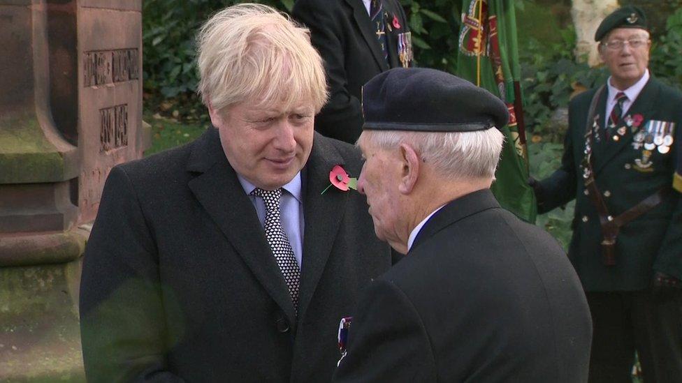 Boris Johnson met veterans on Monday during a visit to Wolverhampton