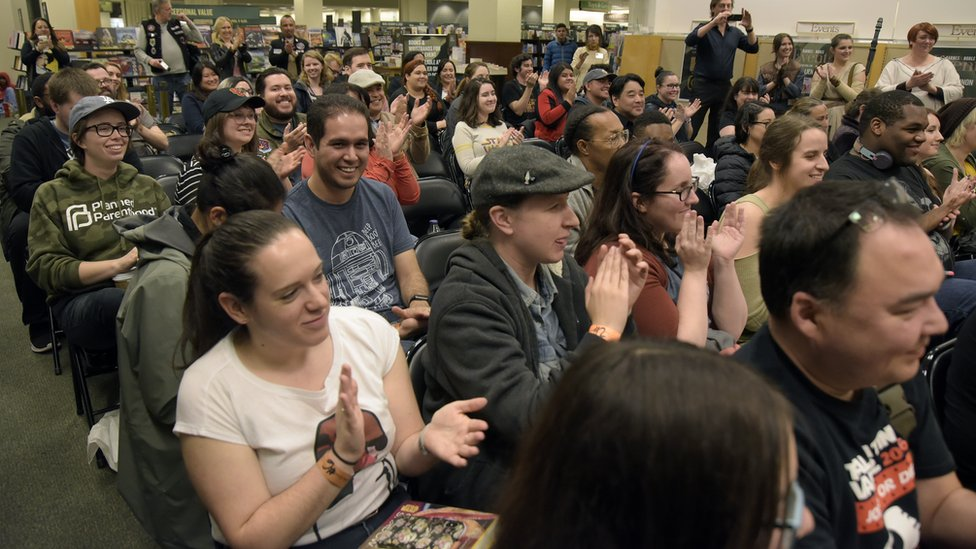 ": Fans applaud during a signing event for ""Star Wars: Women Of The Galaxy"" at Barnes & Noble at The Grove on March 06, 2019 in Los Angeles, California."