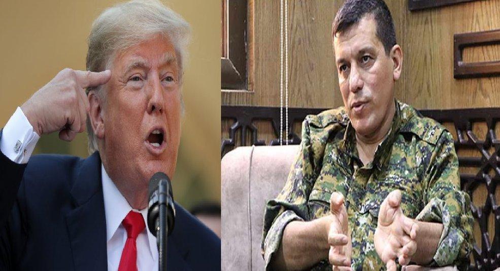 القائد العام لقوات سوريا الديمقراطية مظلوم عبدي والرئيس الأمريكي دونالد ترامب