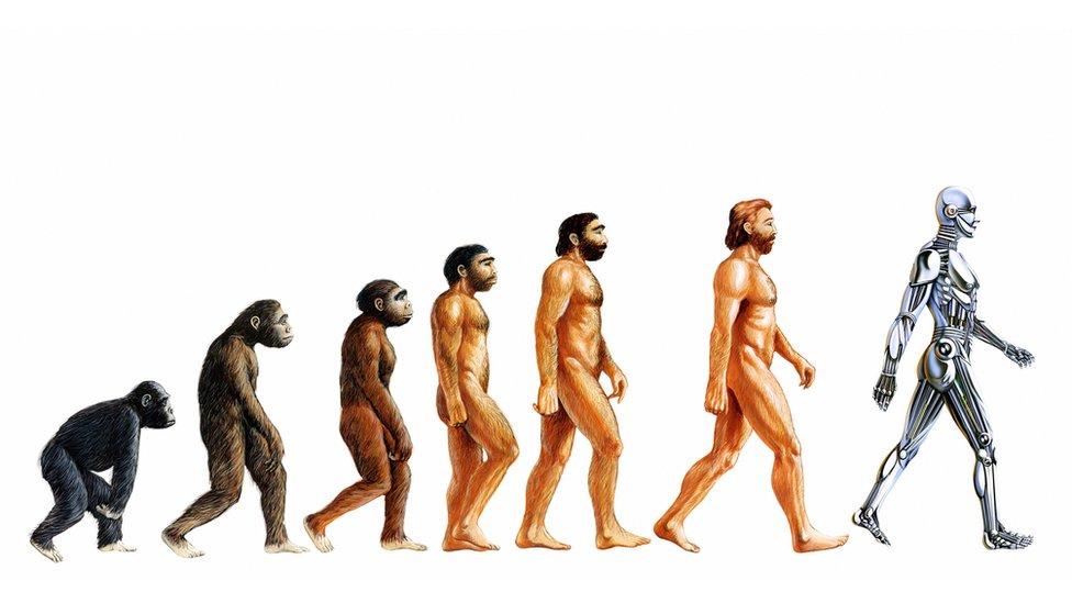 'Evolution of Man ending with Artificial intelligence' illustration