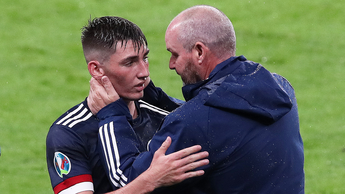 Billy Gilmour with Scotland Manager Steve Clarke at the England v Scotland match