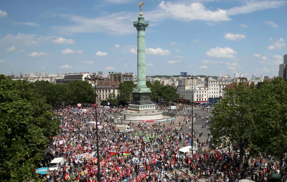 A general view shows the Place de la Bastille square as French labour unions employees attend a demonstration against plans to reform French labour laws on 23 June