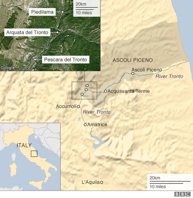 Map of quake areas in Central Italy
