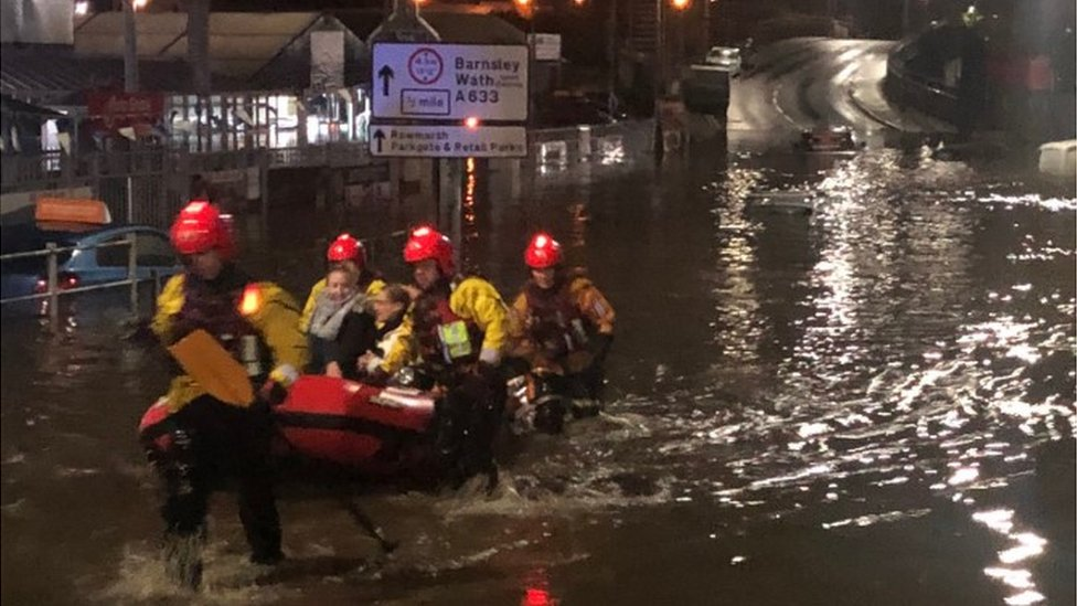 People being rescued from the Parkgate centre