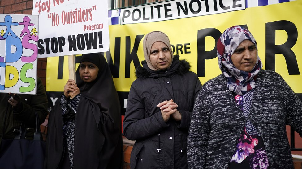 Protests outside Parkfield Community School on March 21, 2019
