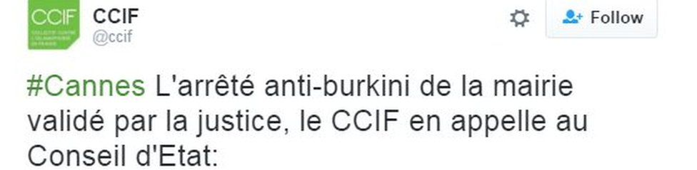Tweet from CCIF, appealing to the Conseil d'Etat against the court decision to back the ban