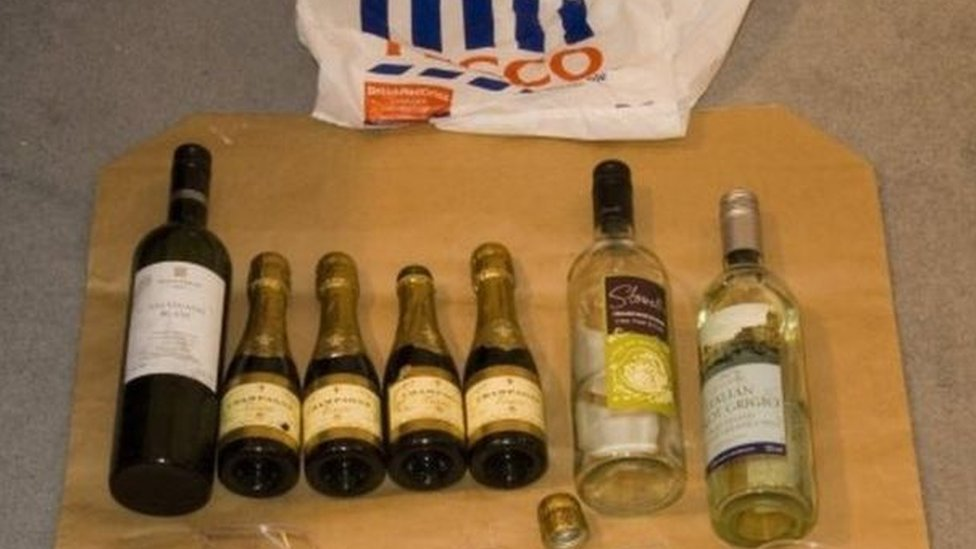 Bottles of alcohol used in attack