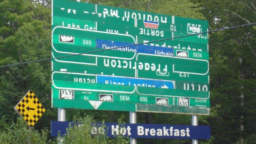 An indecipherable road sign
