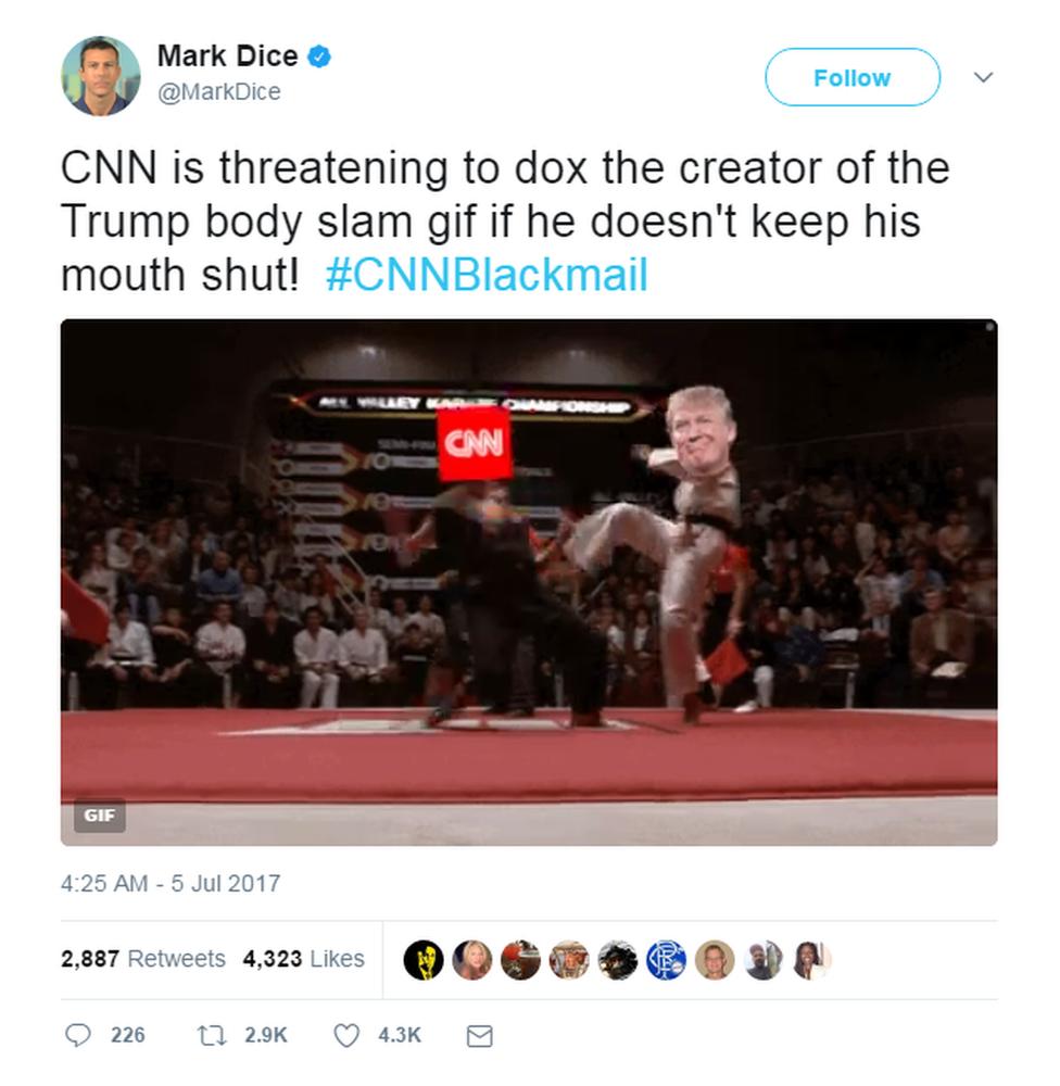 Mark Dice tweet on CNN 'blackmail'