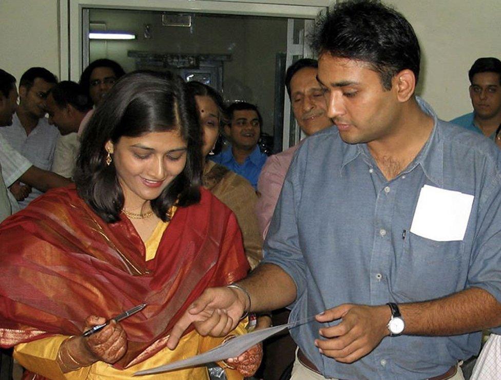 Salma and TM Veeraraghav at their wedding