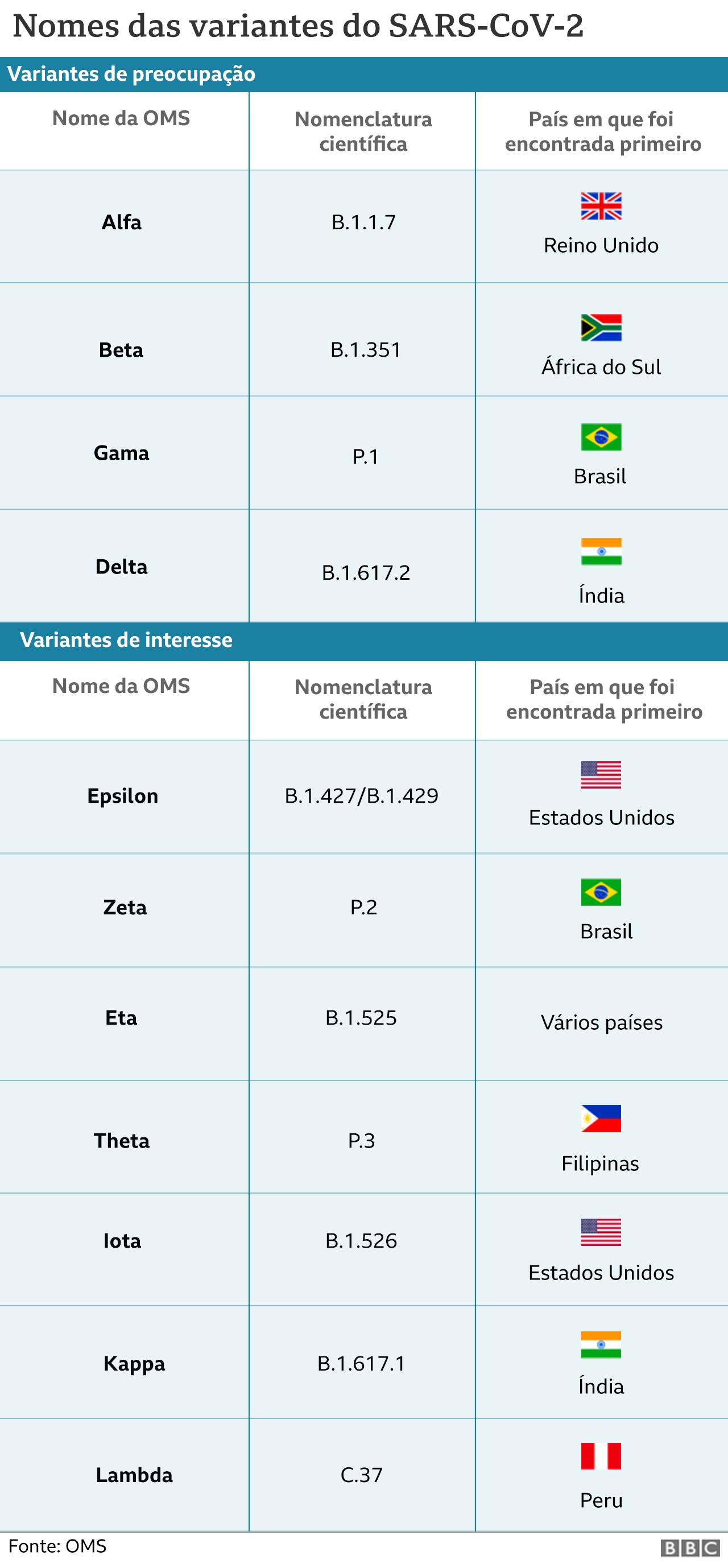 infográfico com nomes das variantes