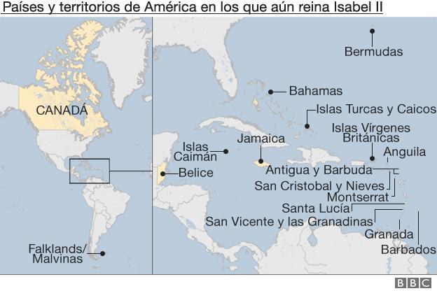 Mapa de los países y territorios de América en los que aún reina Isabel II