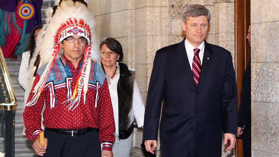رئيس الوزراء هاربر مع فيل فونتين، زعيم السكان الأصليين الكنديين، في عام 2008