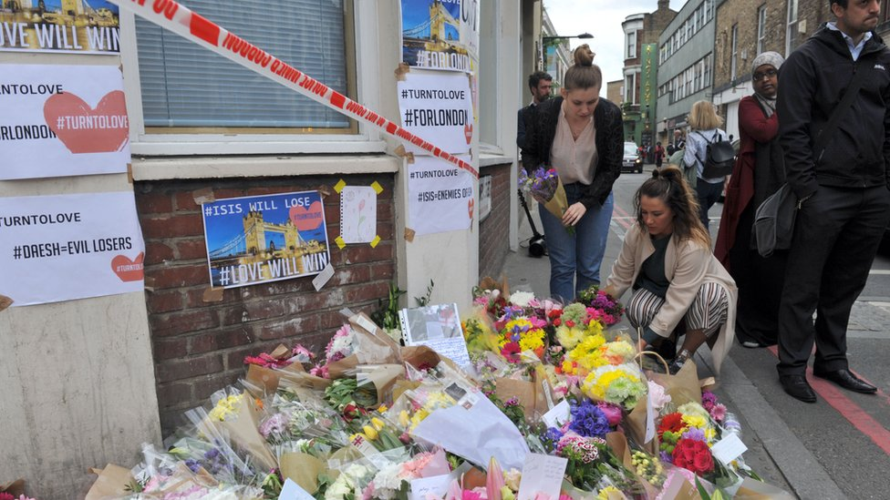 Floral tributes have been building up at a number of locations around the scene of the attack