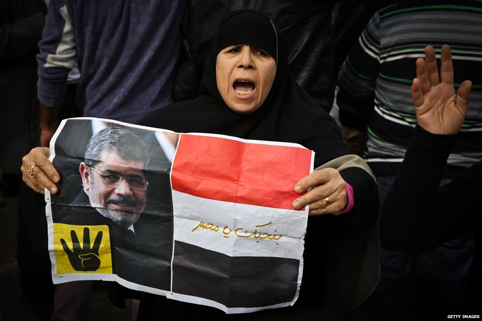 A supporter of the Muslim Brotherhood holds a placard showing ousted president Mohamed Morsi , January 2015