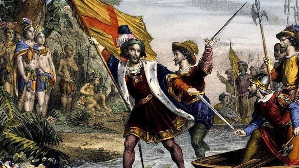 لوحة تصور وصول كولومبس إلى سواحل الكاريبي