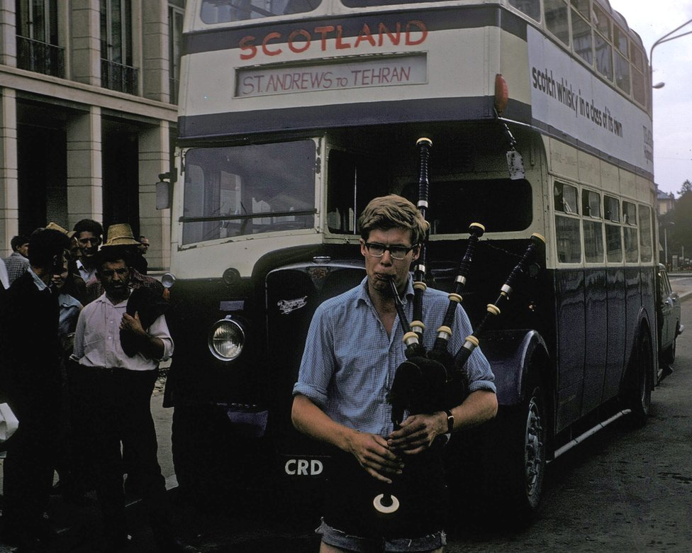 Ian Jack playing bagpipes