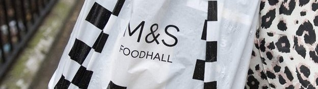 m&s black and white carrier bag
