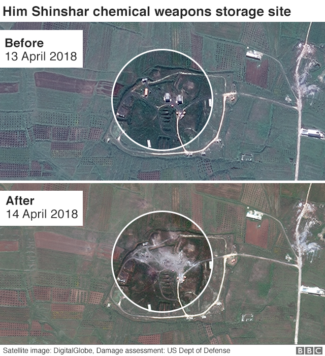 Him Shinshar chemical weapons storage site before and after satellite images
