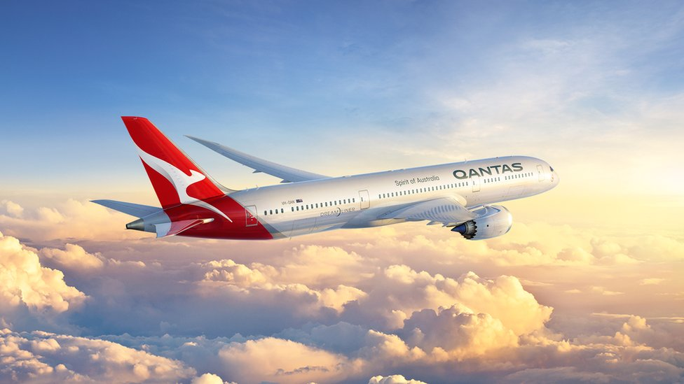 A Qantas Boeing 787-9 Dreamliner in the sky