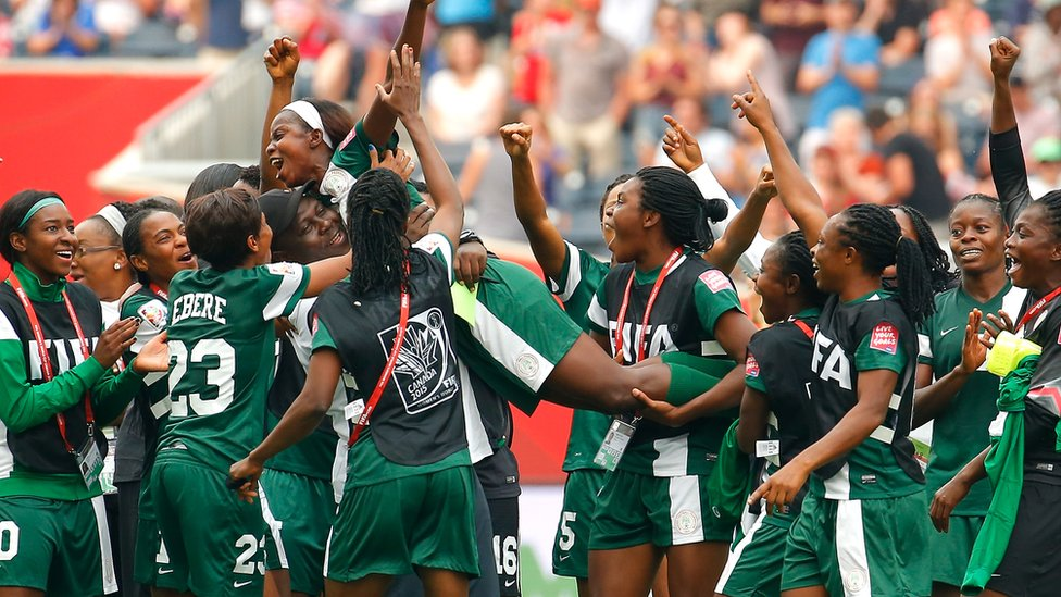 Nigerian female football players pictured at Women's World Cup in Canada in 2015