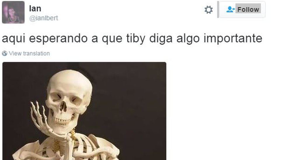 "A picture of a skeleton and a post reading: ""Waiting for Tiby [Venezuelan electoral authority head Tibisay Lucena] to say something important"""