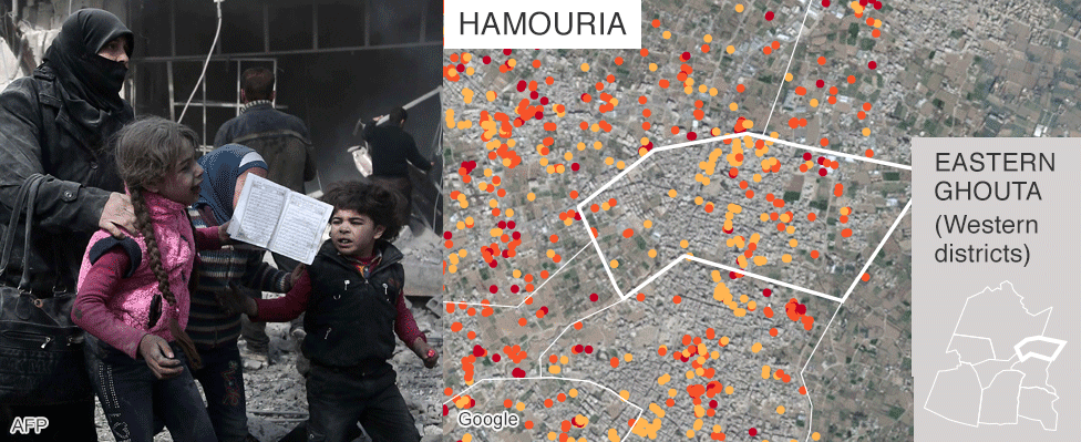 Map showing damage in Hamouria, Eastern Ghouta