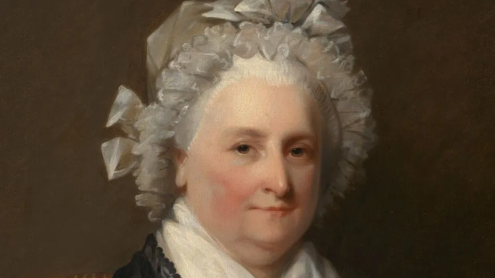 El retrato de la primera esposa de un presidente, Martha Washington, tiene un aire de madre de la nación