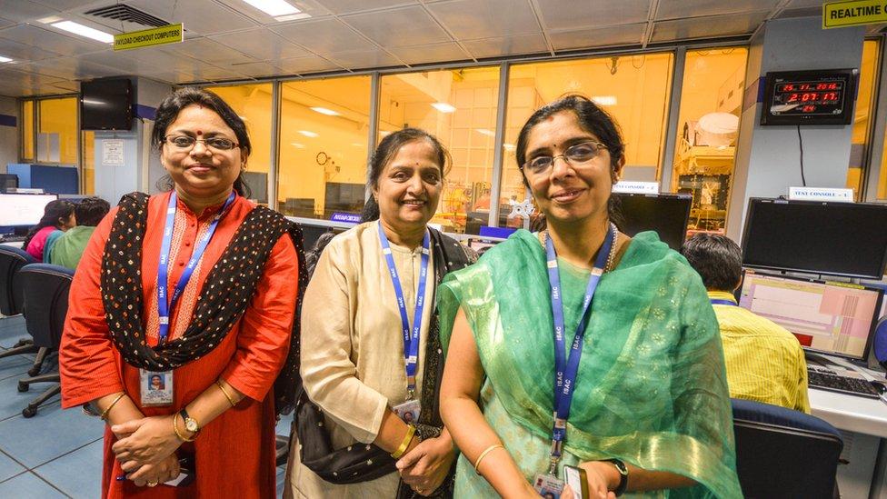 From left: Ritu Karidhal, Anuradha TK and Nandini Harinath