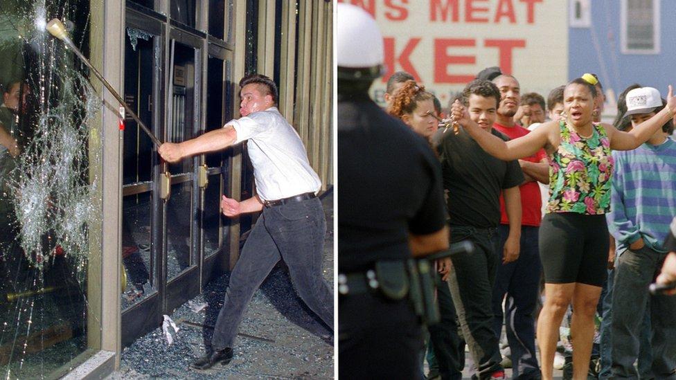 Composite of Los Angeles 1992 riots