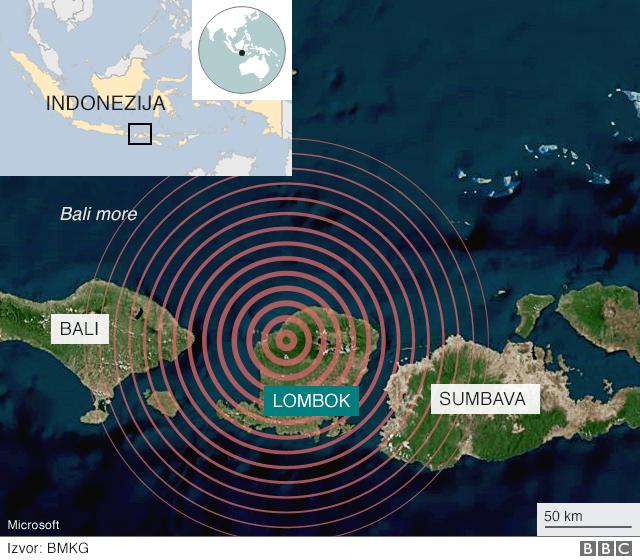 Mapa pokazuje razorni udar zemljotresa koji je pogodio Lombok u nedelju.