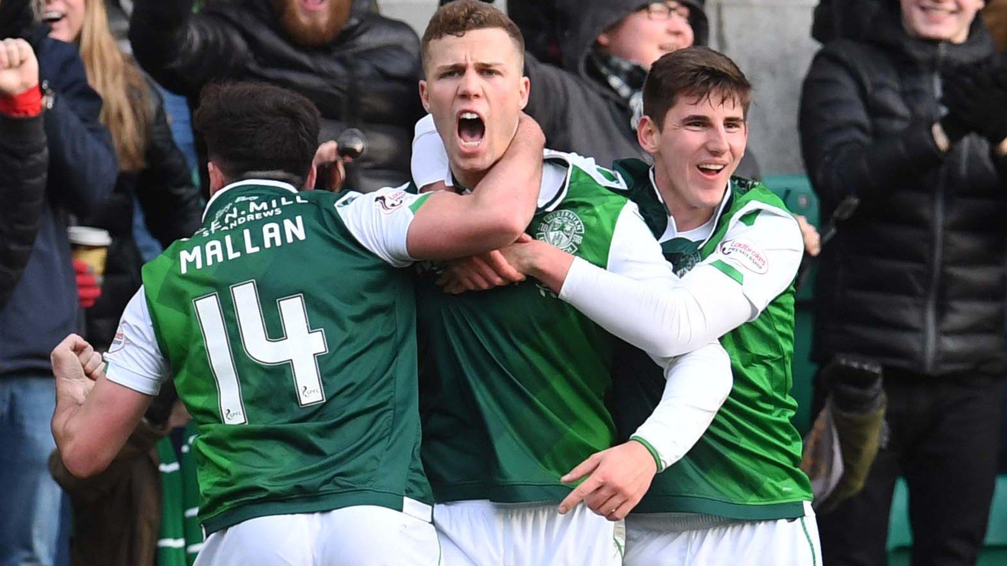 Hibernian win 2-0 to keep Celtic off Premiership top spot