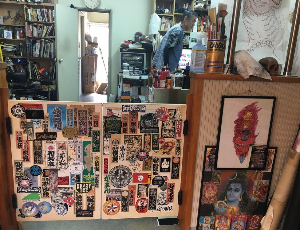 Inside Horimitsu's studio in Tokyo
