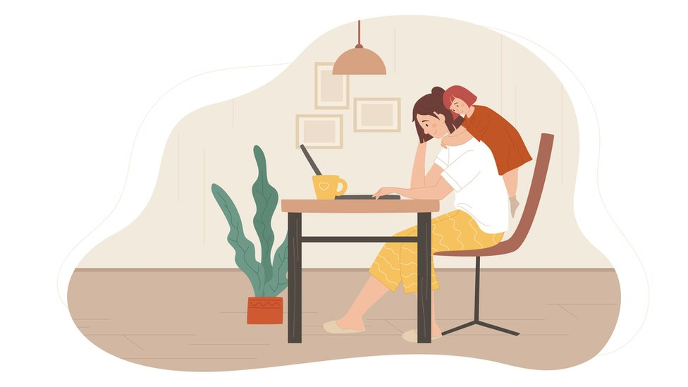 Dibujo de madre trabajando
