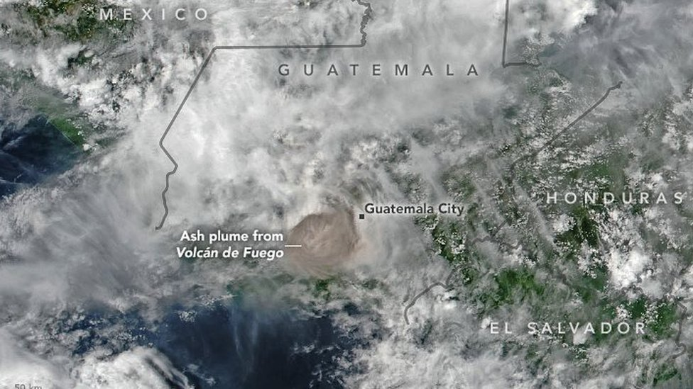 A view of the ash plume from space as captured by NASA using VIIRS data from the Suomi National Polar-orbiting Partnership and OMPS data from the Goddard Earth Sciences Data and Information Services Center